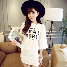Han edition 7 minutes of sleeve skirt bat sleeve splicing printing letters animated cartoon step package buttocks summer dress