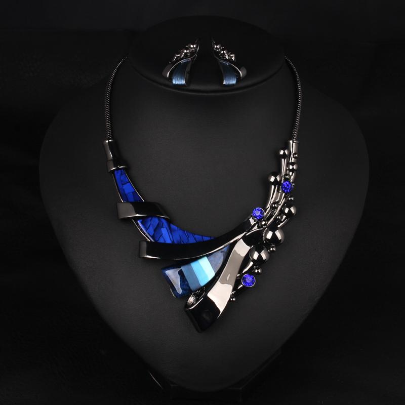 蓝色时尚百搭夸张饰品锁骨链配饰麦芭贝尔装饰项链女