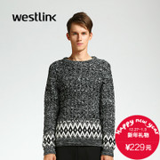 Westlink/West 2015 winter new national men's knitted sweater grey toe twist sweater