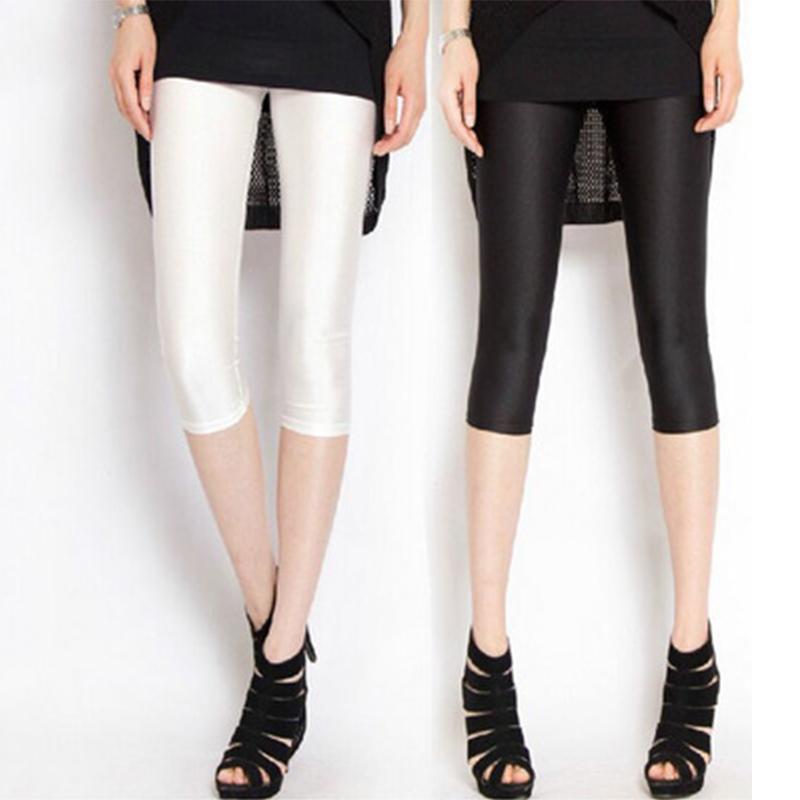 Ношение 7 тонкий женщин леггинсы брюки плотно летом семь блестящие штаны тонкие ноги карандаш брюки эластичность