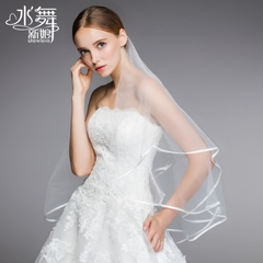 Beauty is just too retro veil wedding white yarn exports Europe and the Ribbon edging simple single layer R0061