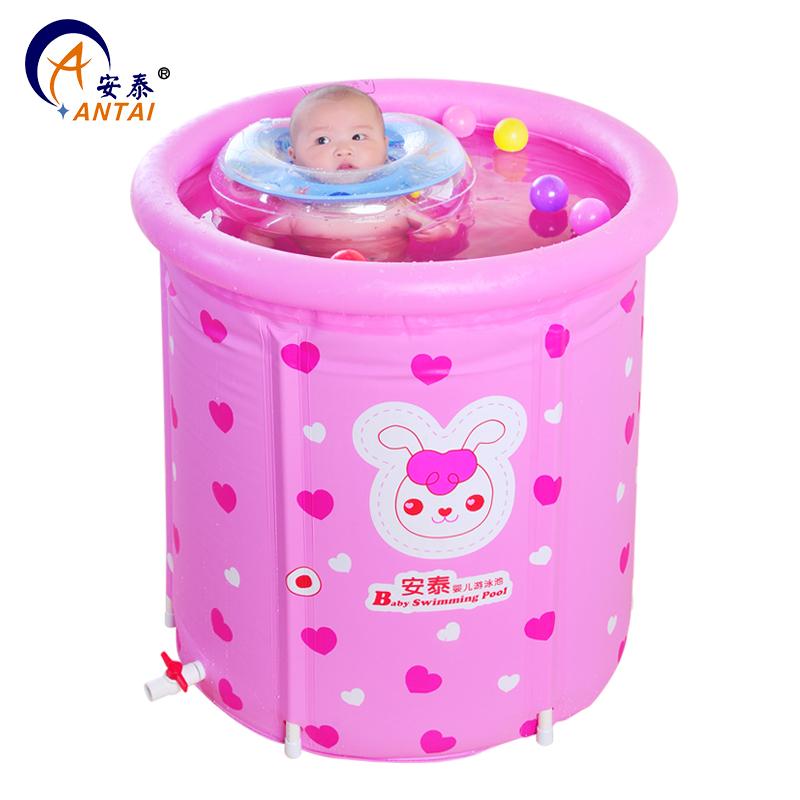 安泰 嬰兒遊泳池 嬰幼兒童充氣支架加厚保溫家用寶寶遊泳池遊泳桶