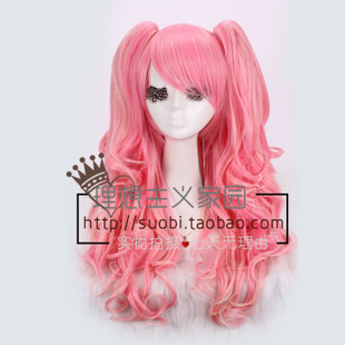Ideal cos anime wig Lolita Lolita pink blending Afro split air volume