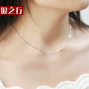 Silver Line Korean Fashion S925 Silver Necklace with twisted piece chain short paragraph clavicle chain jewelry girls day gift