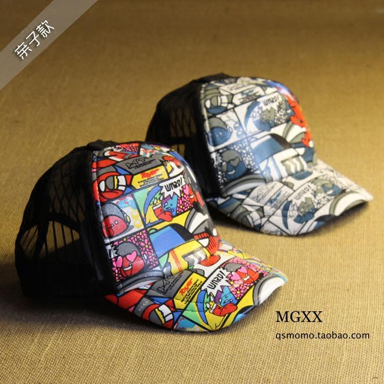 Корея летние стили для мужчин и женщин и детей личности граффити бума Бейсболка сетка Hat Cap шляпы весело шляпы