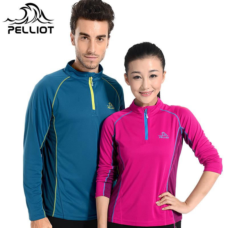 Франция PELLIOT на открытом воздухе быстросохнущие женская одежда длинный рукав быстросохнущие t футболки мужской движение пот эластичность бег быстросохнущий одежда