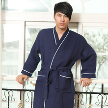 Delicate age season men cotton waffle bathrobe kimono took long long robe The white hotel bathrobe