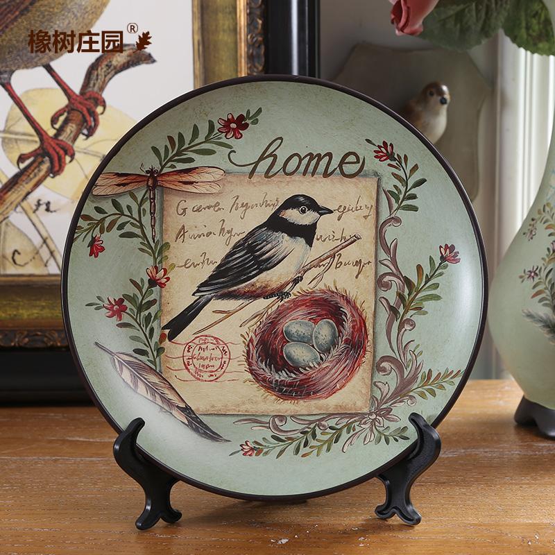 橡樹莊園 美式鄉村德林絲陶瓷裝飾盤擺盤 家居客廳軟裝飾品擺設