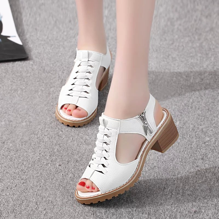 Sandals fairyland 2019 new ins fashion middle school students versatile thick heel woven wedge heel high heel shoes