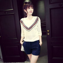 Lara, Autumn new fund in Europe and the United States fan national wind round collar beaded fringe sleeve round collar ice silk knit a female