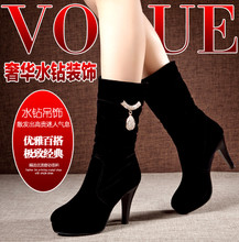 $2015 new winter daphne's first female boots fine grind arenaceous short boots with heels knights of fashion boots