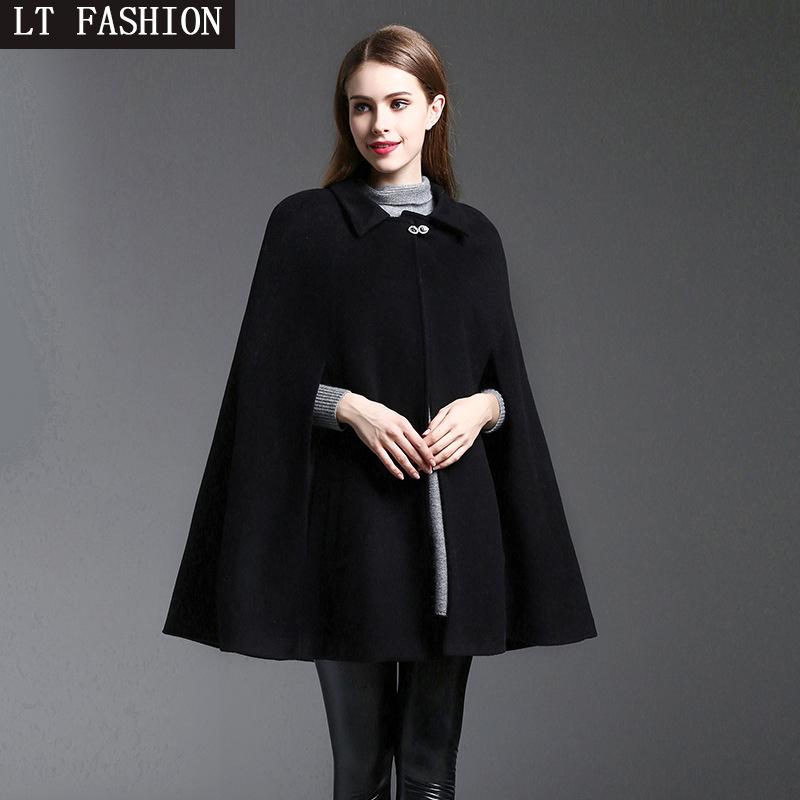 韩版秋冬女装大码中长款棉质呢子斗篷大衣黑色时尚宽松披肩外套