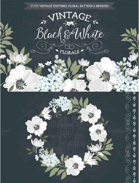 Vector design material Retro Black and white flower wreath European pattern small fresh Mori pattern wedding EPS