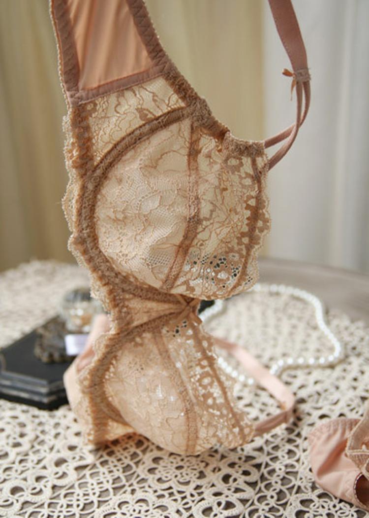 夏季单层蕾丝网纱性感透明文胸无海绵超薄款透气舒适女士内衣套装