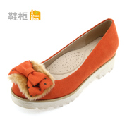 Shoebox shallow low shoe bow shoes in the sweet, thick-soled shoes and women's shoes
