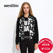 Westlink/West fall 2015 new streets printed flower sleeve dress flashes baseball coat