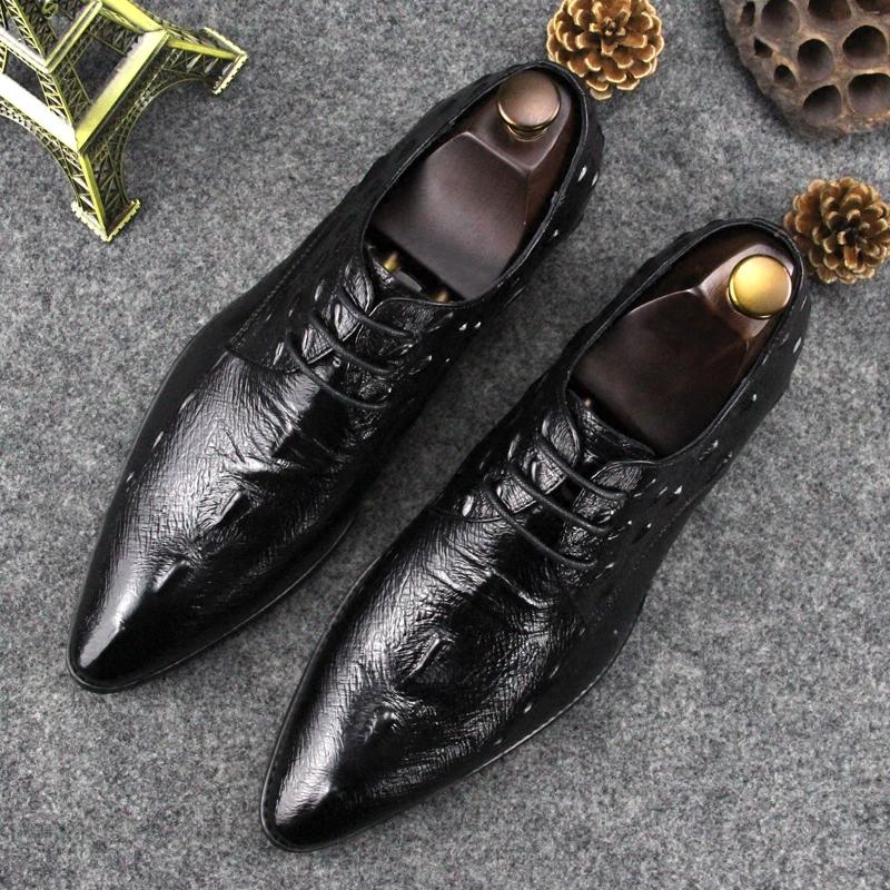 新款头层牛皮鳄鱼纹尖头皮鞋男英伦真皮商务正装系带时尚单鞋婚鞋