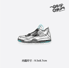 [single] Air Jordan4 white and blue laser waterproof tide stickers Laptop stickers suitcase stickers