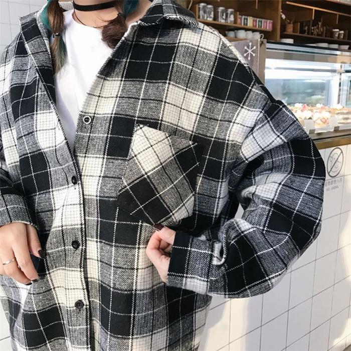 秋装女装新款韩版翻领百搭宽松格子衬衫外套基础学生长袖衬衣上衣