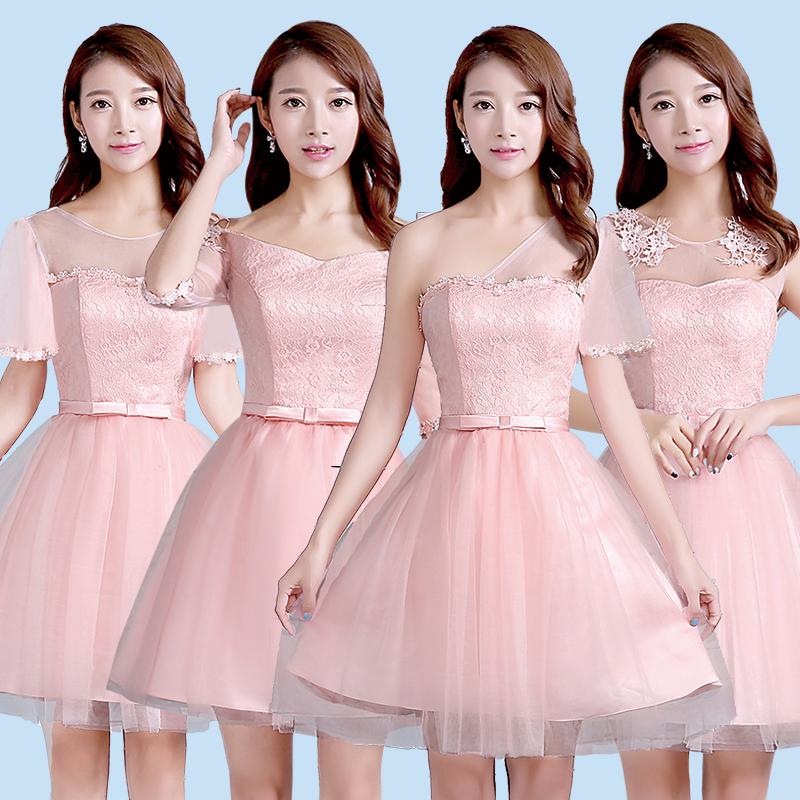粉色伴娘服2016 伴娘團禮服短裙伴娘禮服姐妹裙 韓式短款女