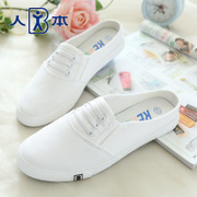 Summer little white shoes men sneakers women Korean students shoes asakuchi fashion lazy people pedal slippers women