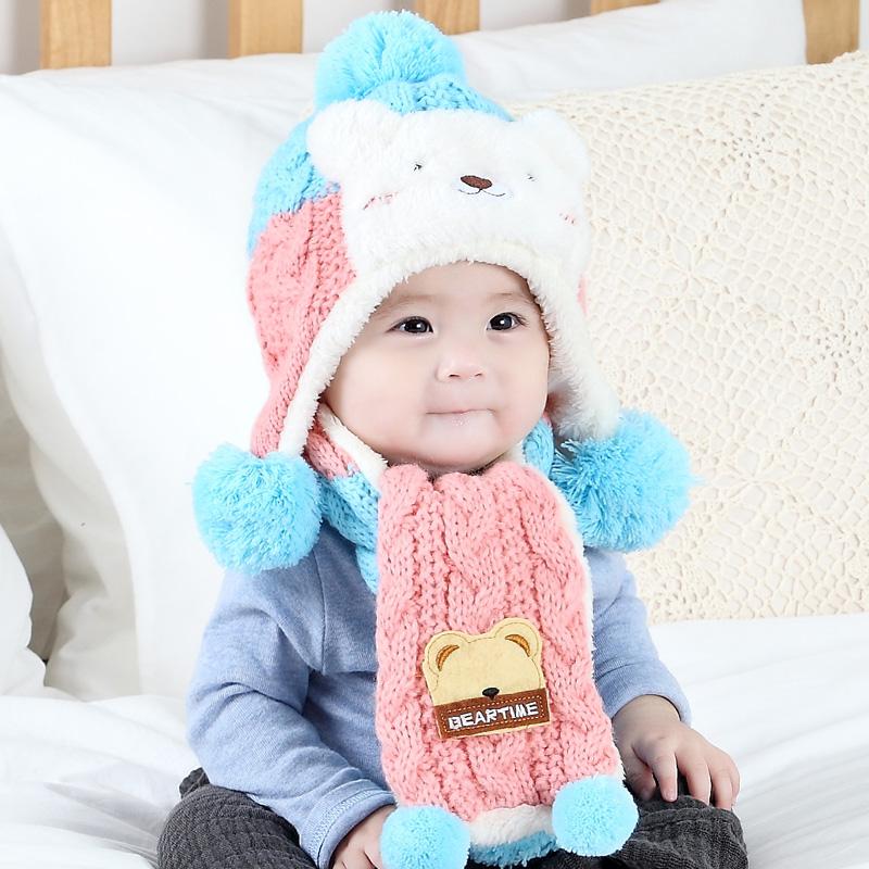 婴儿帽子秋冬3-6-12个月毛线帽宝宝帽子1-2岁儿童帽子加绒护耳帽