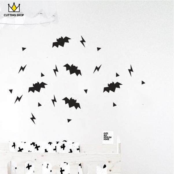创意家居装饰 蝙蝠闪电三角 摄影背景PVC个性墙贴