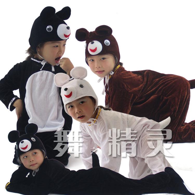 Акции Новый драматический этап костюм взрослых детей животных формы белый черный и коричневый медведь производительность одежда