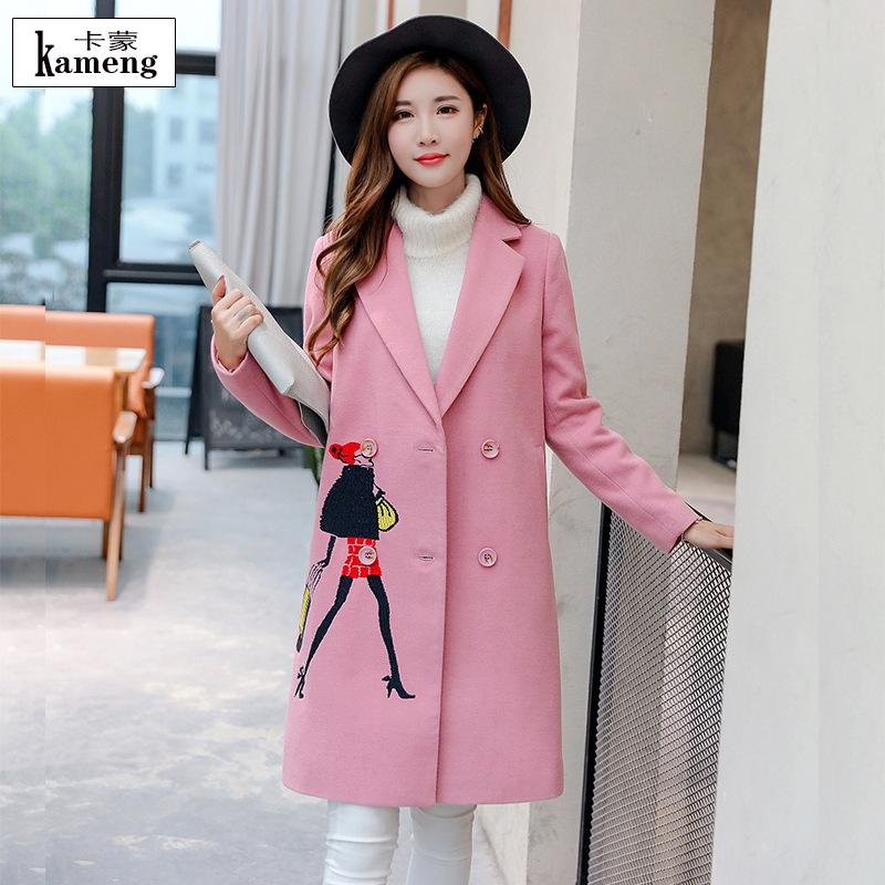 新品推荐2016冬季新款女装韩版刺绣双面呢长款大衣西装领毛呢外套