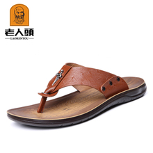 354016bce671 New old head man sandals male leather authentic cool slippers breathable  clip toe sandals men s leather