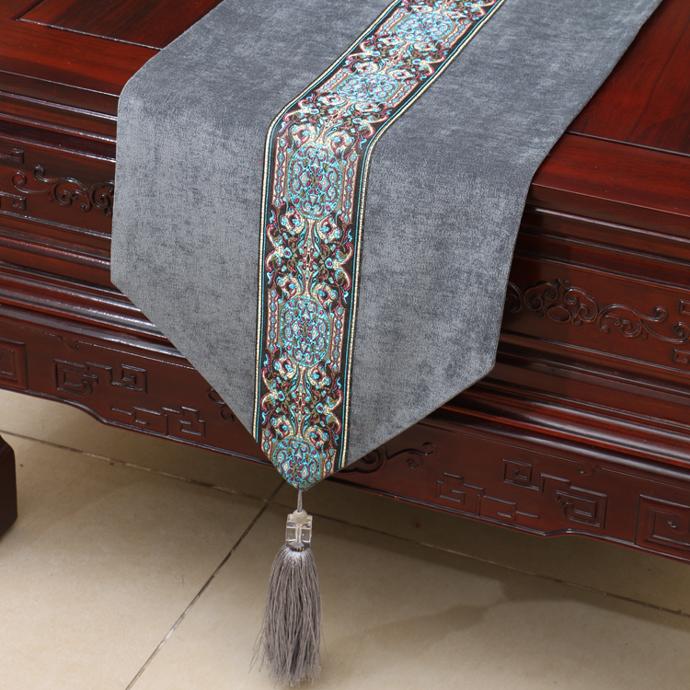 艺必旭新中式简约桌旗现代欧式美式田园桌布茶几布桌垫床旗床尾巾
