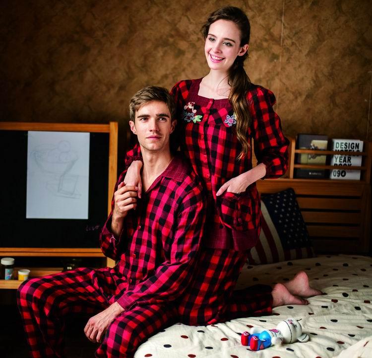 麦可将秋冬款男女情侣纯棉长袖双层?#24202;?#30561;衣套装M1420404603
