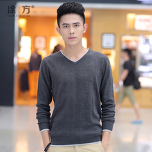 TuFang 2014 new pure color man render sweater Qiu dong outfit men's clothing han edition cotton thin sweater sweater