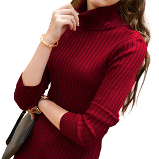 2015 Winter new Korean Slim hedging long sleeved shirt and long sections turtleneck sweaters Women