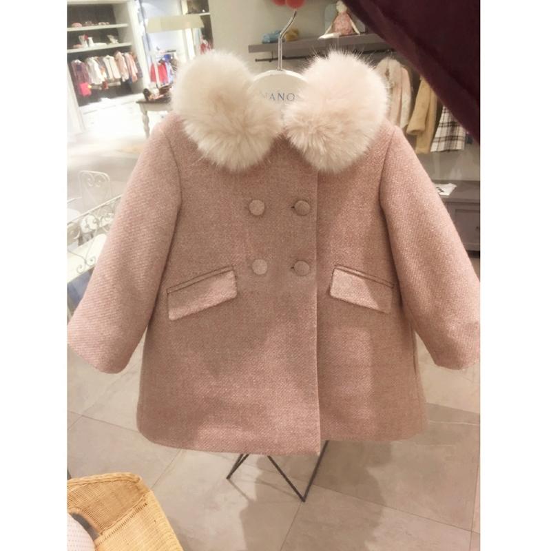 miusu 18秋冬新品 娃娃领 羊毛呢 甜蜜粉 加厚 大衣外套女