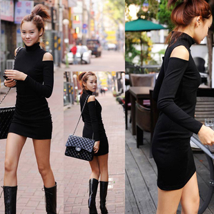 Autumn and winter high necked strapless jersey dress bottoming black dress bare shoulder long sleeved cotton dress Slim hip