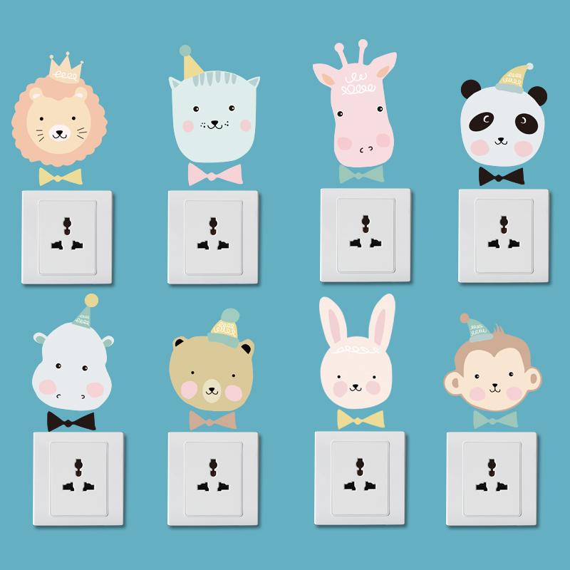 Корейский мультики милый животное наклейки для стен бумага самоклеящийся коммутатор резерва выход ноутбук мобильный телефон декоративный сердце наклейка