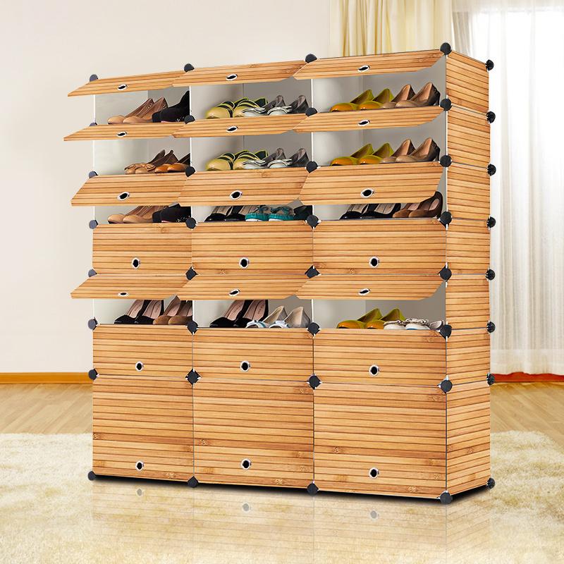 尚一鞋架多層經濟型收納簡易鞋櫃實木紋簡約 塑料防塵組裝