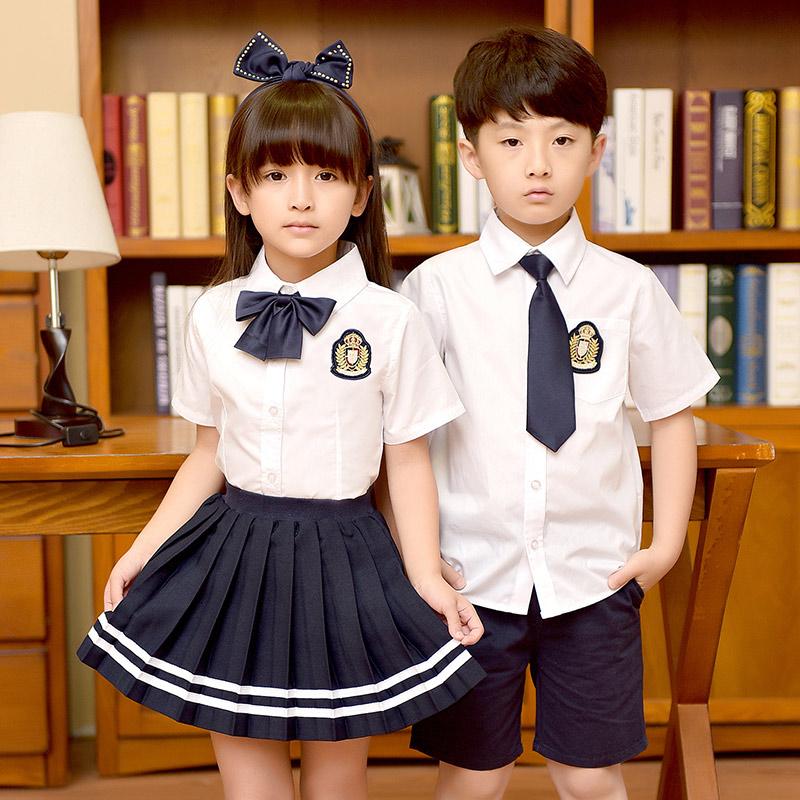 班服夏季韩版学院风男女童短袖衬衫套装初中小学生校服幼儿园园服