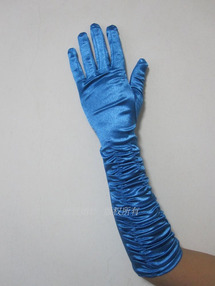 湖蓝色礼服手套孔雀蓝演出光面中长缎面质感柔软礼仪皱手套ST1289
