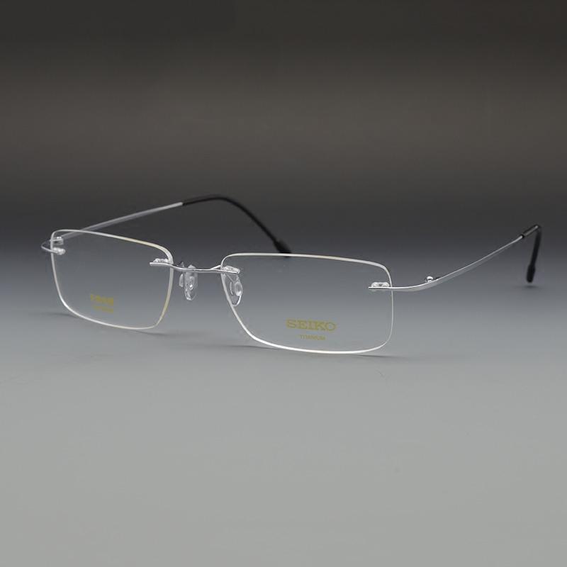 精工纯钛无框眼镜架男大脸配近视超轻无边框眼镜女圆脸切边眼睛框
