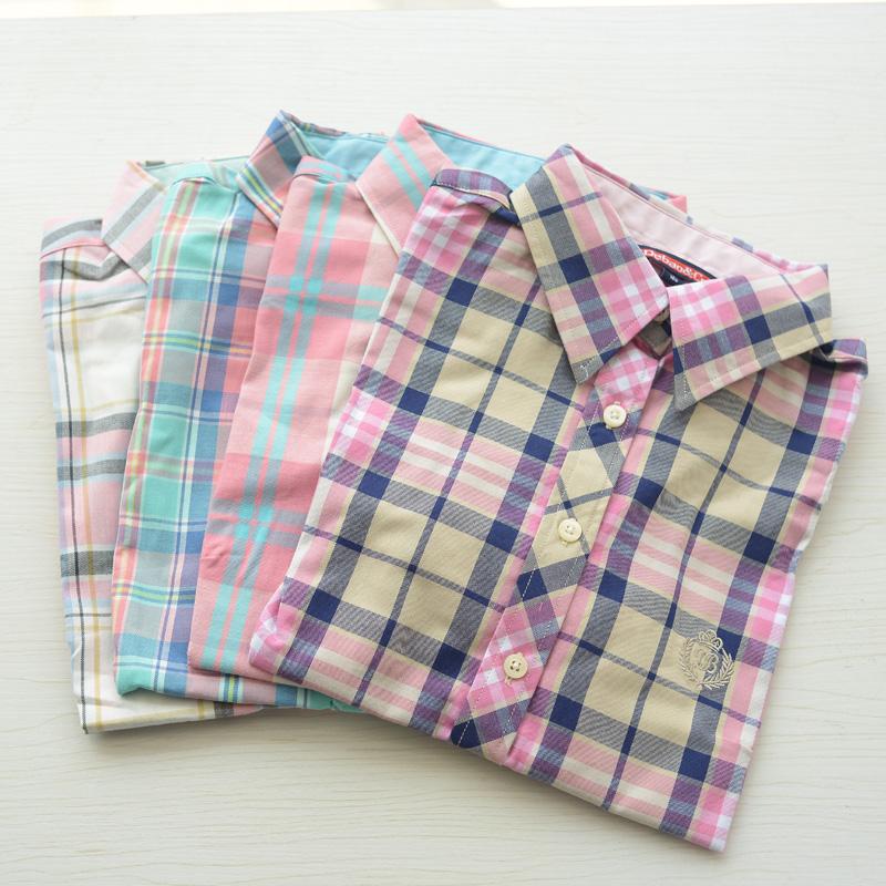韩版夏 英伦学院风经典格子纯棉短袖衬衫女全棉衬衣薄款修身显瘦