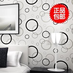 现代简约3d立体电视背景墙壁纸时尚黑白圆圈圈墙纸客厅卧室无纺布