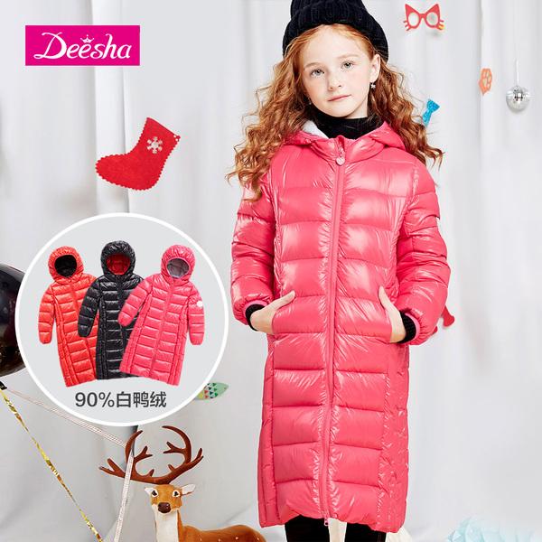 笛莎童装女童羽绒服冬季新款保暖中大童长款韩版儿童羽绒服