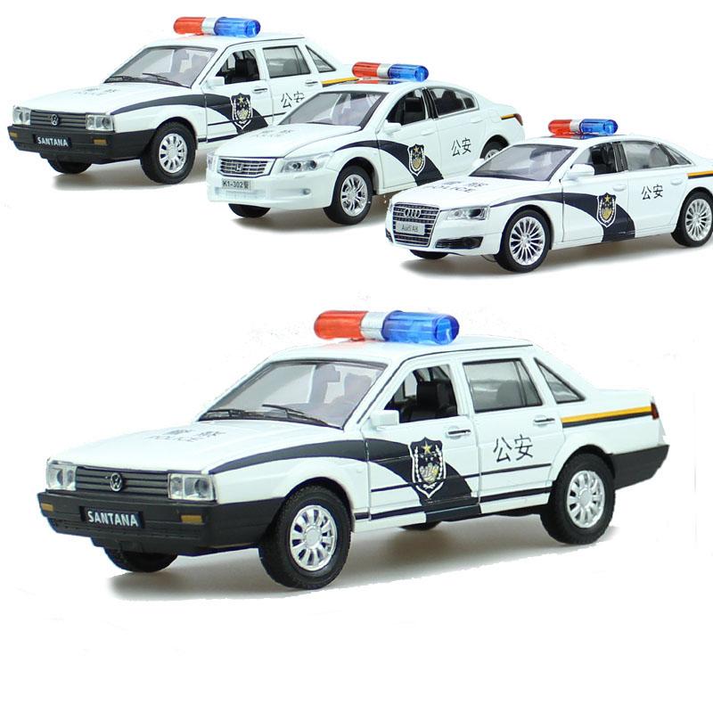 仿真金属合金警车玩具本田雅阁 桑塔纳 回力声光警察汽车铁车开门