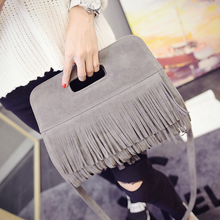 Female bag han edition of new fund of 2015 autumn tide in Europe and America frosted ms tassels handbag shoulder inclined bag, leisure bag