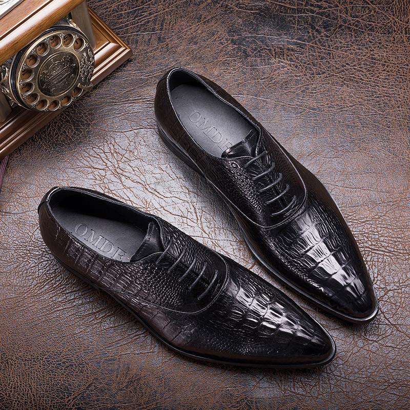 新品摩登牛皮压花男鞋 英伦超尖头系带商务皮鞋 发型师潮鞋低帮鞋