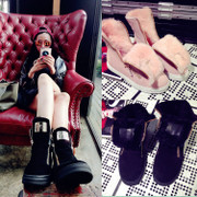 Winter new style leather short boots women snow boots warm thick hair wool leisure shoes flat women''''''''s shoes non-slip boots