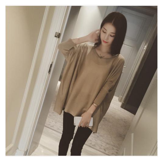 Начале осени 2015 новой корейской версии Grand edition t loose жира bat рукав вязаный свитер короткий рукав рубашки mail
