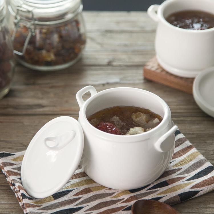 摩登主妇 日式创意双耳陶瓷带盖汤盅炖盅燕窝蒸蛋迷你炖汤煲盖碗